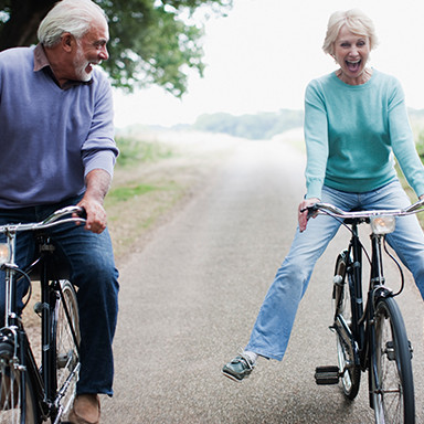 Mature people on bicycles, Mobilrity, Chiropractor Bangor