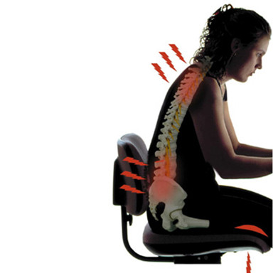Lady sitting at a computer, Posture and Spine Health