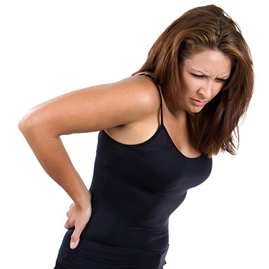 Lady with lower back pain, sciatica, Cloverfield Chiropractic